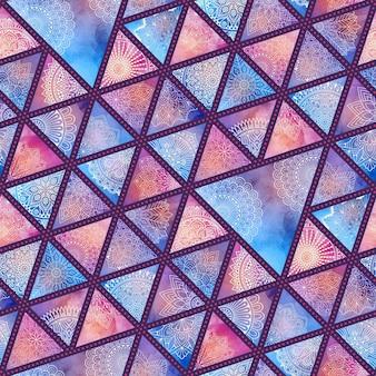 Patrón floral étnico con triángulos