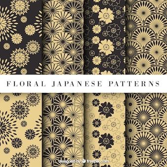 Patrón floral japonés amarillo