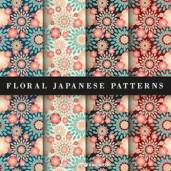 Patrón floral japonés rojo y azul