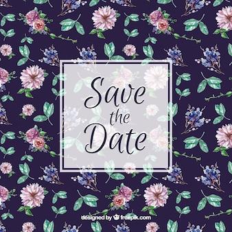 Patrón floral para la invitación de boda