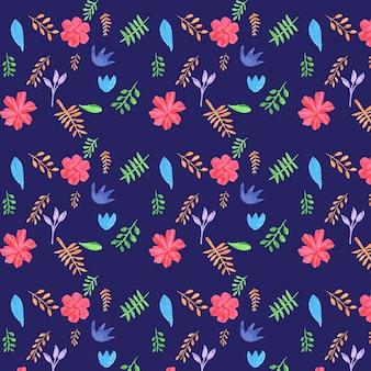 Patrón floral sobre fondo morado