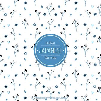 Patrón japonés con pequeñas flores azules