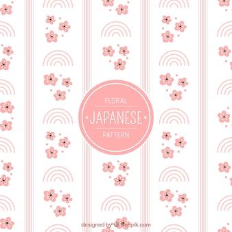Patrón japonés ornamental con flores y formas abstractas