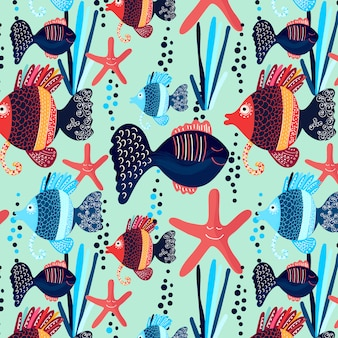 Patrón lindo de pescados