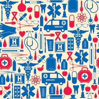 Patrón médico rojo y azul
