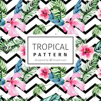 Patrón moderno con flores tropicales de acuarela