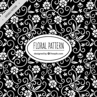 Patrón negro floral