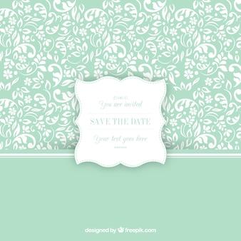 Patrón ornamental con la etiqueta de invitación de boda