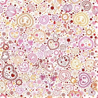 Patrón ornamental de corazones y flores