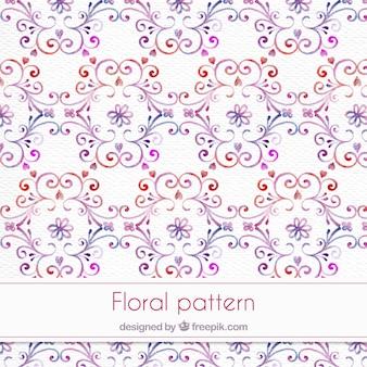 Patrón ornamental de de acuarela con detalles florales