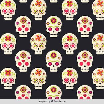 Patrón para el día de los muertos con calaveras mexicanas