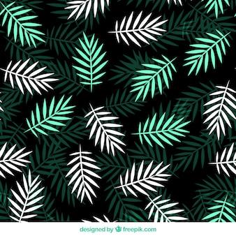 Patrón plano con hojas de palma blancas y verdes