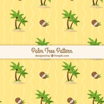 Patrón plano con palmeras y cocos