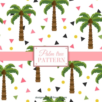 Patrón plano con palmeras y formas geométricas