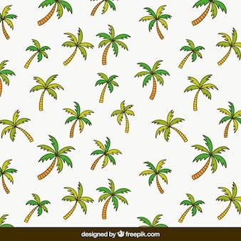 Patrón plano con palmeras
