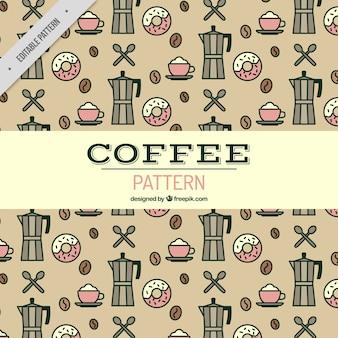 Patrón plano con rosquillas y cafeteras