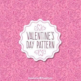 Patrón rosa con elementos dibujados a mano para el día de san valentín
