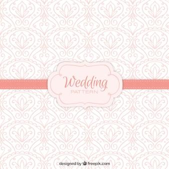 Patrón rosa de boda con detalles dibujados a mano