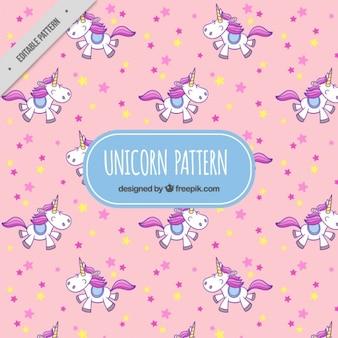 Patrón rosa de unicornio adorable con estrellas