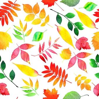 Patrón sin fisuras de hojas de otoño