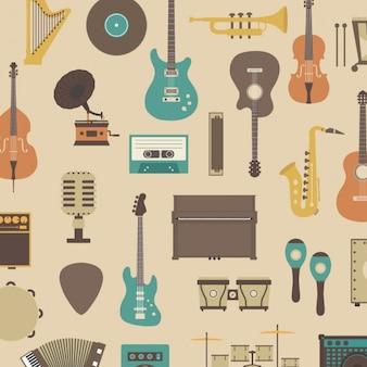 Patrón sobre instrumentos musicales