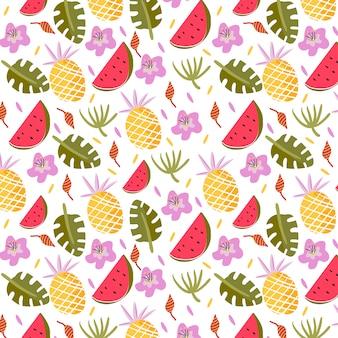 Patrón tropical con frutas y hojas