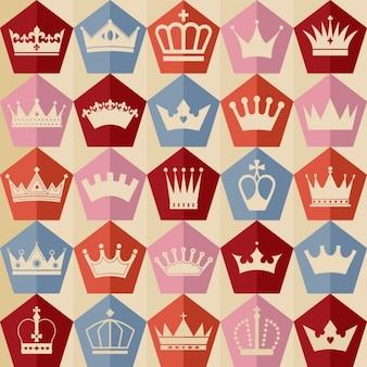 Patrón vintage de bonitas coronas en diseño plano