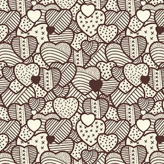 Patrón vintage de corazones