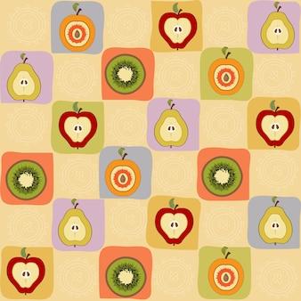 Patrón vintage de frutas dibujadas a mano
