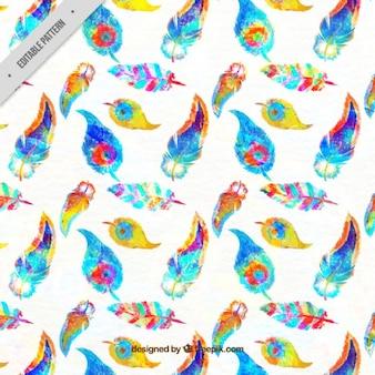 Patrónd e plumas de acuarela coloridas