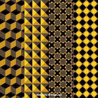 Patrones abstractos amarillos y negros