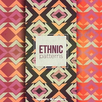 Patrones abstractos geométricos en estilo étnico