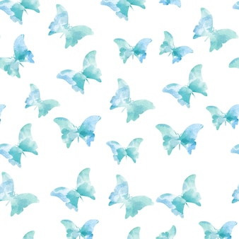 Patrones azules sin costuras de mariposas de acuarela