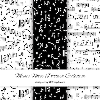 Patrones blanco y negro con notas musicales