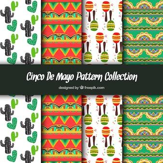 Patrones de colores con elementos mexicanos