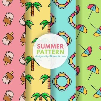 Patrones de colores de elementos de verano en estilo lineal