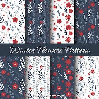 Patrones de flores de invierno ornamentales en estilo vintage