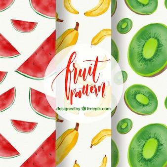 Patrones de frutas de acuarela