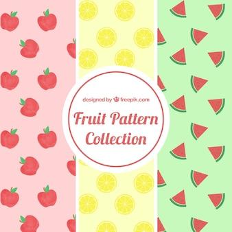 Patrones de frutas en diseño plano