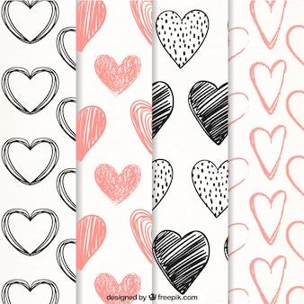 Patrones de garabatos de corazones