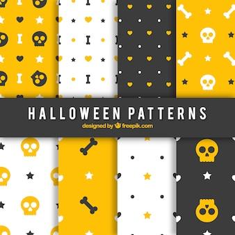 Patrones de Halloween en los colores amarillo, blanco y negro