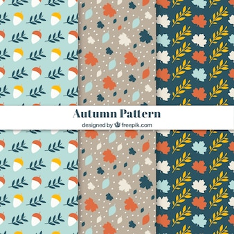 Patrones de otoño modernos con diseño plano