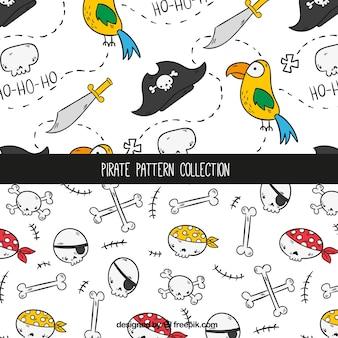 Patrones de pirata dibujados a mano