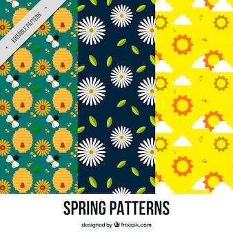 Patrones de primavera bonitos en diseño plano