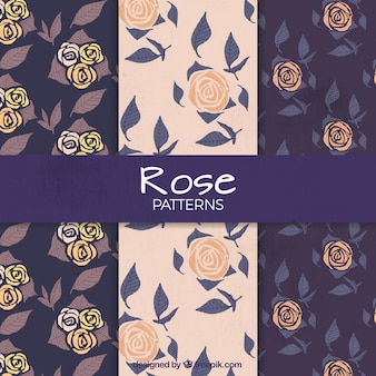 Patrones de rosas dibujadas a mano