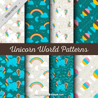 Patrones de unicornios grises y turquesas