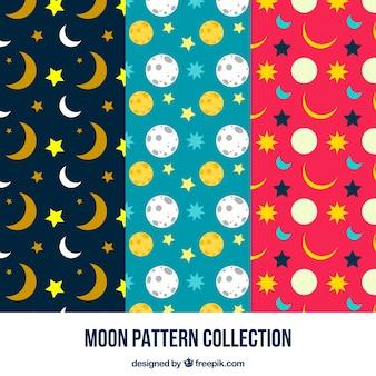 Patrones decorativos de luna y estrellas