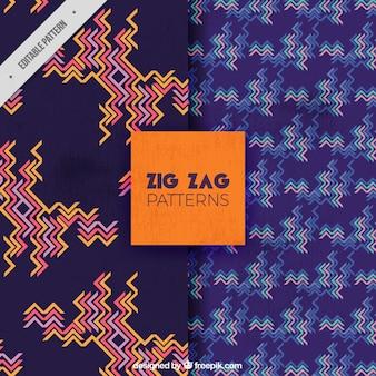 Patrones decorativos de zig-zag