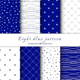 Patrones decorativos en color blanco y azul