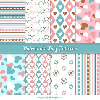 Patrones decorativos en colores pastel para el día de san valentín